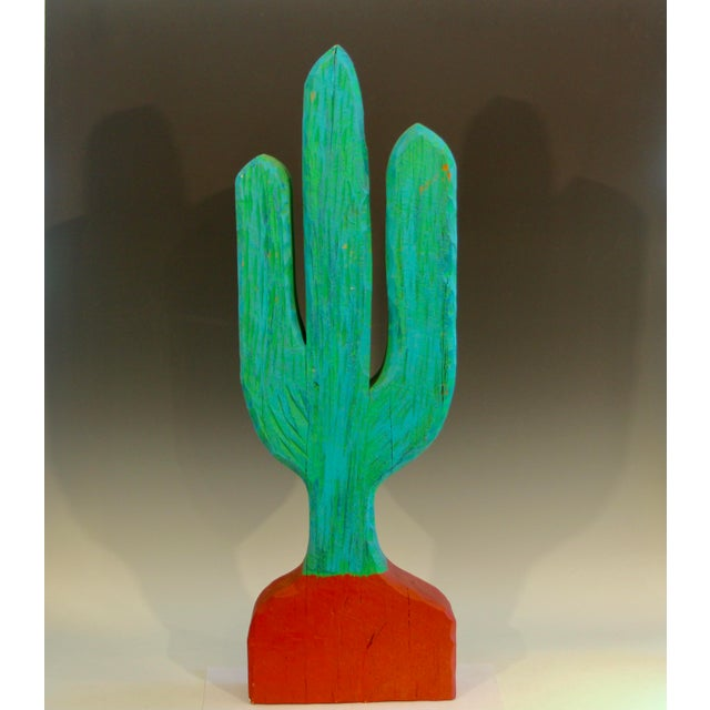 Rustic Vintage 1980s South Western Folk Art Painted Carved Wood Cactus Sculpture For Sale - Image 3 of 10