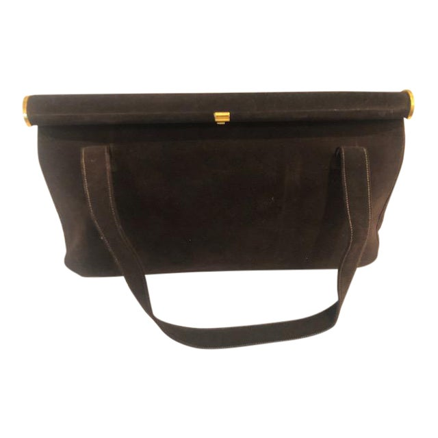 1940s Koret Chocolate Calfskin Suede Purse For Sale