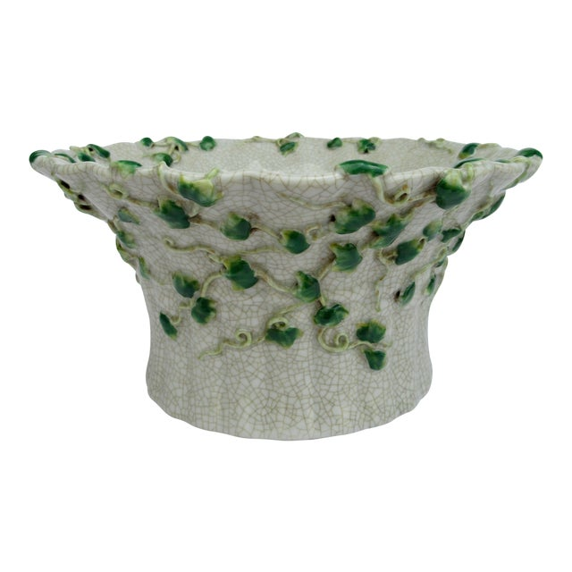 Vintage Ceramic Crackle Center Bowl With Adorned English Ivy by United Wilson/Hong Kong For Sale