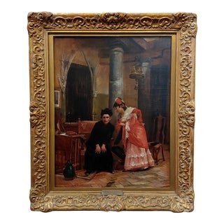 "Jehan Georges Vibert ""Woman Shocking Confession to a Priest"" Oil Painting, 19th Century For Sale"