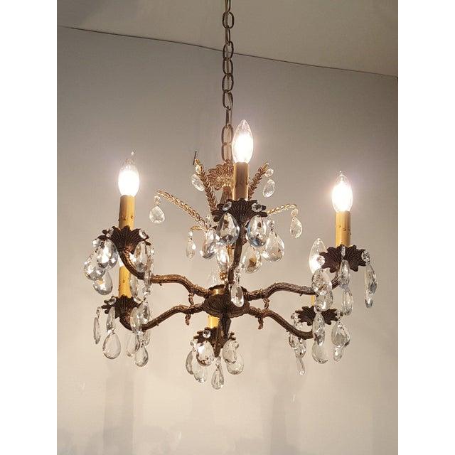 Hollywood Regency Hollywood Regency Ornate Solid Brass & Crystal Chandelier For Sale - Image 3 of 11