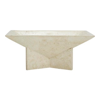 1990s Vintage Rectangular Tessellated Stone Bowl on Elevated Base For Sale