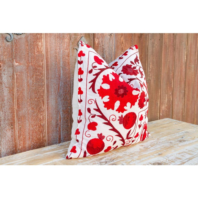 Rakti Royal Red Suzani Pillow For Sale In Los Angeles - Image 6 of 10