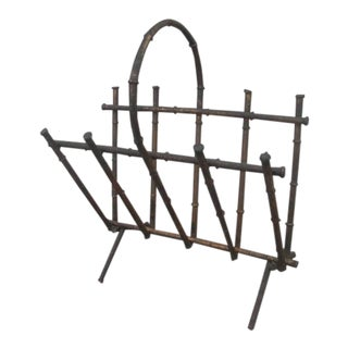1960s Vintage Gilt Metal Faux Bamboo Magazine Rack For Sale