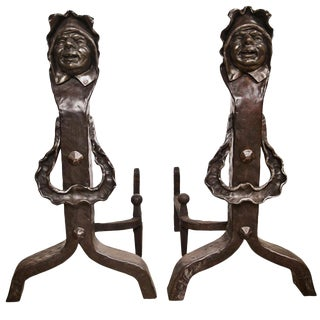Vintage Set of Figural Cast Iron Fireplace Andirons For Sale