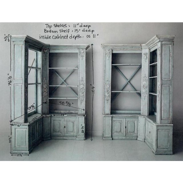 Pair of French Louis XV Style Corner Bookcases For Sale - Image 12 of 13