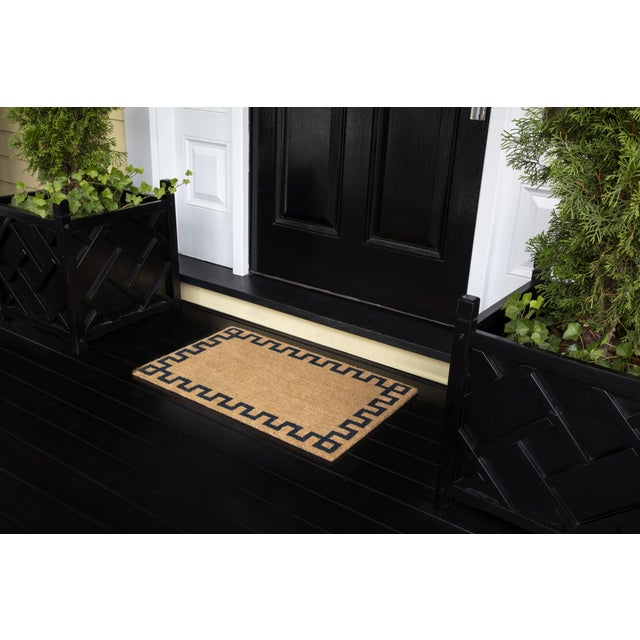 Modern Erin Gates by Momeni Park Greek Key Natural Hand Woven Natural Coir Doormat- 1′6″ × 2′6″ For Sale - Image 4 of 5