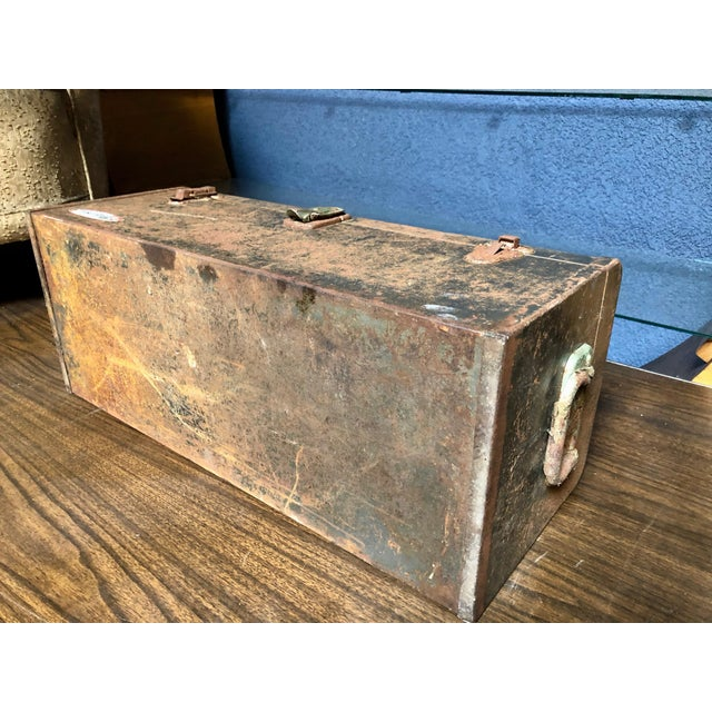 Vintage Car-Racing Crew Rusted Metal Patina Tool Box For Sale - Image 10 of 11