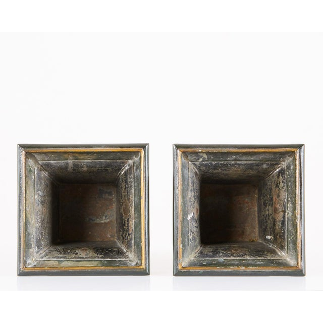 French Neoclassical Directoire Style Tole Vases - a Pair For Sale - Image 11 of 13