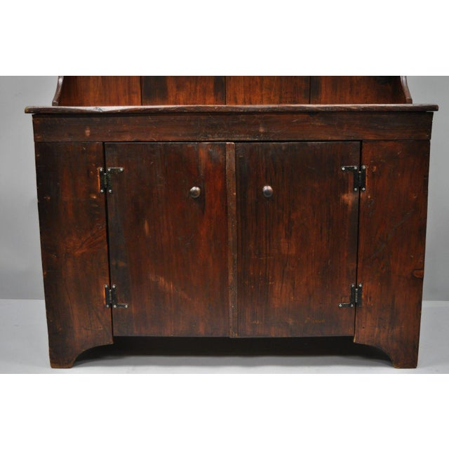 Brown Antique Country Primitive Knotty Pine Cupboard Cabinet Sideboard Stepback Hutch For Sale - Image 8 of 12