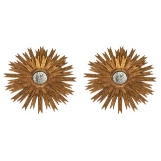 Sculptural Gold Leaf Sunburst Mirrors For Sale