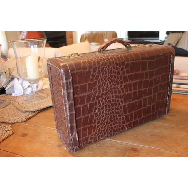 Brown Faux Crocodile Suitcase - Image 3 of 6