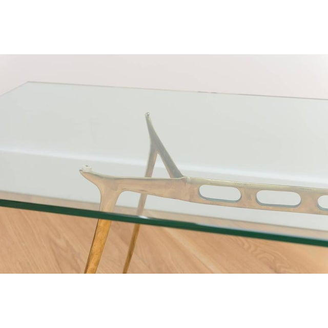 Mid-Century Modern Italian Brass Cocktail Table For Sale - Image 3 of 8