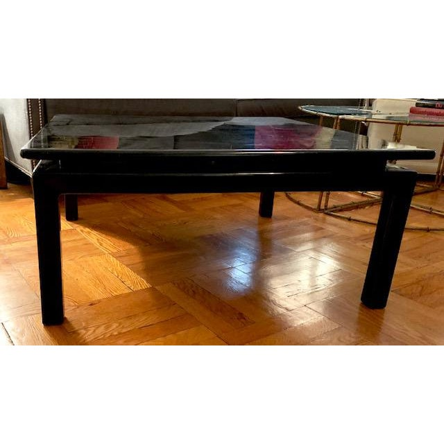Mid Century Italian Black Lacquered Float Top Coffee Table For Sale - Image 9 of 10
