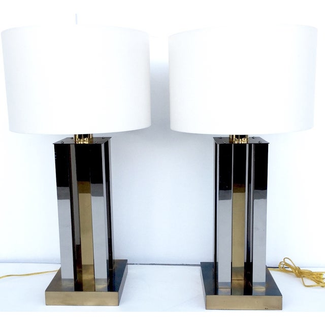 Mid-Century Steel & Brass Column Lamps - A Pair - Image 3 of 9