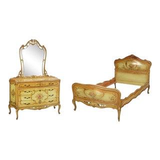 Antique Venetian Louis XV Style Paint Decorated Bedframe & Dresser - A Pair For Sale