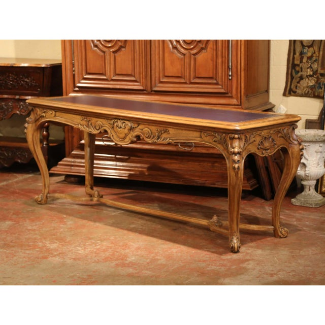Large 19th Century French Louis XV Carved Walnut Console Desk With Leather Top For Sale - Image 9 of 13