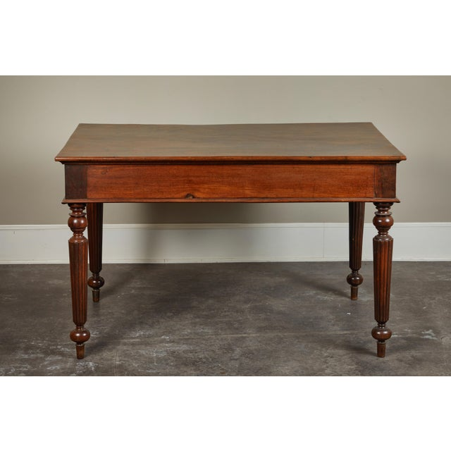 French Colonial Single-Piece Rosewood Top Desk For Sale - Image 4 of 13