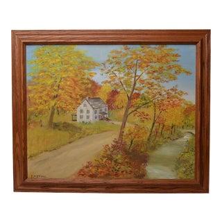 "Vintage Original Outsider Folk Art Landscape ""Autumn"" Framed Painting by E. R. Stone For Sale"