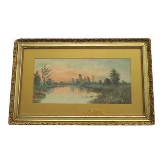 Castle Ruins Antique Watercolor Painting For Sale