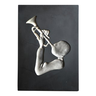 Vintage 1950s Richter Jazz Musician Trumpet Player Plaster Wall Plaque