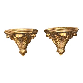 Italian Gold Wall Brackets - a Pair For Sale