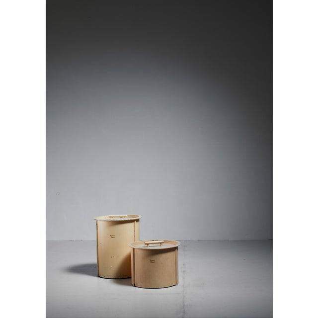 A set of two painted plywood hay boxes, designed by Piet Zwart for Bruynzeel, the Netherlands in the 1930s. The...