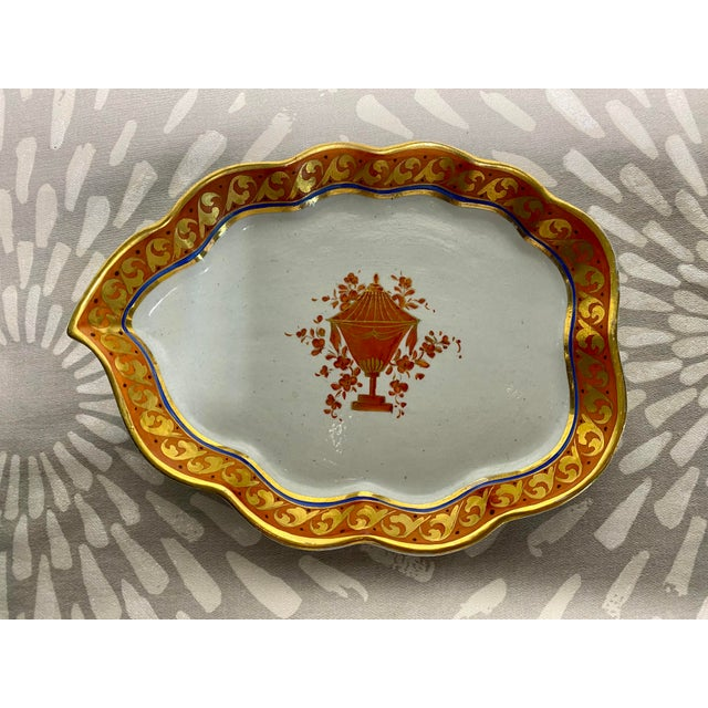 19th Century Red Orange & Gold Handmade Hand-Painted Ceramic Pottery Catchall Dish For Sale - Image 10 of 10