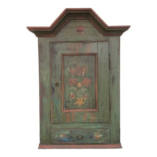 1813 Primitive Antique Wall Hanging Cupboard For Sale