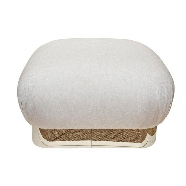 This ultra chic and large Karl Springer large shuffle pouf or ottoman has been newly re-upholstered and the brass plated...
