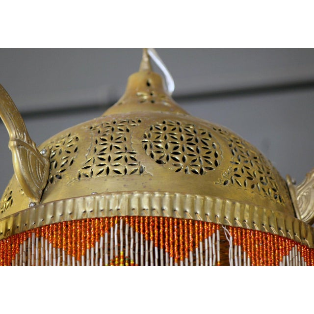 Vintage Moroccan Brass & Beaded Pendant Lamp For Sale - Image 4 of 10
