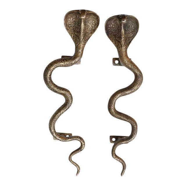 Large Brass Cobra Door Handles - A Pair For Sale