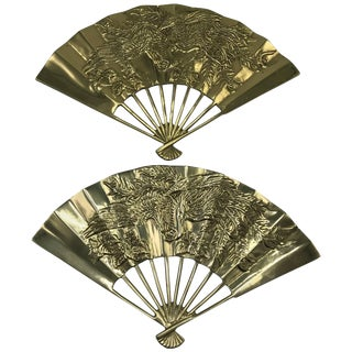 1960s Brass Chinoiserie Fan Wall Sculptures With Dragon Motif, Pair For Sale