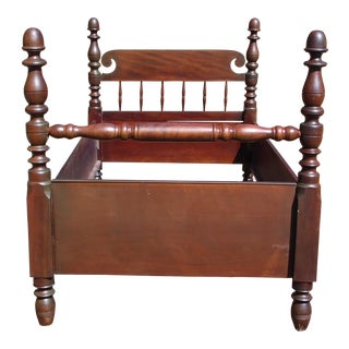 Antique Solid Mahogany Twin to 3/4 Poster Bed Frame American Early 1800's
