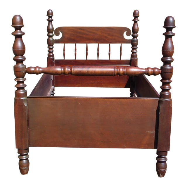 Antique Solid Mahogany Twin To 3 4 Poster Bed Frame American Early