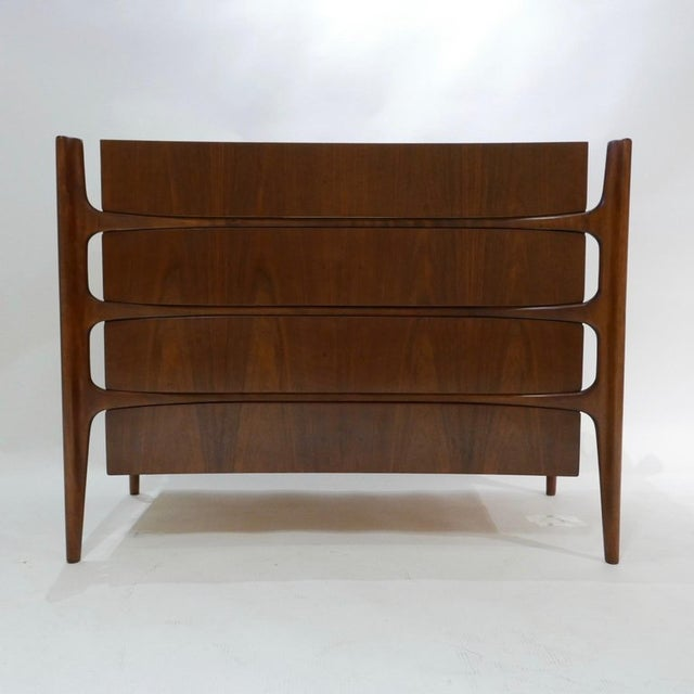 Sculptural William Hinn for Urban Furniture Scandinavian 4 Drawer Walnut Chest For Sale - Image 11 of 11