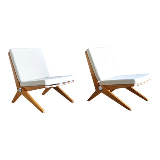 1950s Vintage Pierre Jeanneret for Knoll International Scissor Lounge Chairs- A Pair For Sale