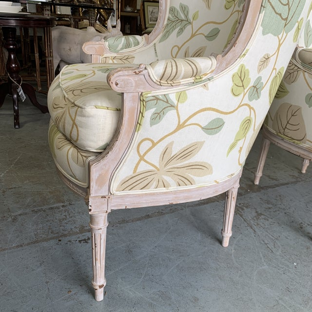 White Upholstered Bergere Chairs - a Pair For Sale - Image 8 of 10