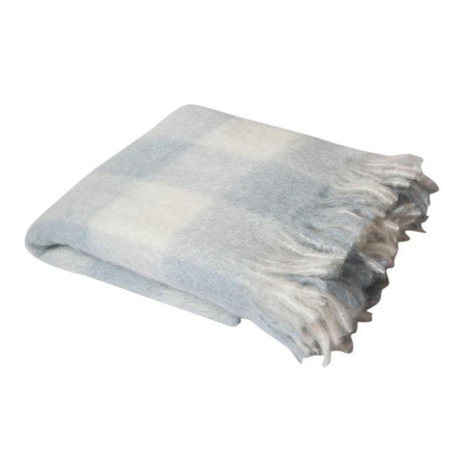 Contemporary Blue White & Bone Check Mohair Throw For Sale - Image 3 of 3