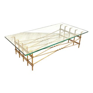 Vintage Iron Gilt Glass Top Coffee Table For Sale