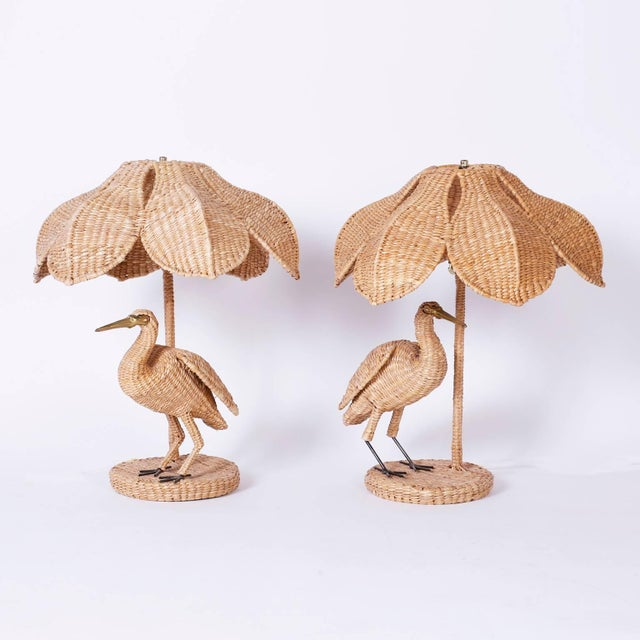 Tan Mario Lopez Torres Wicker Egret Table Lamps - a Pair For Sale - Image 8 of 10