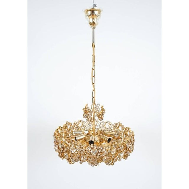 Pair Palwa Crystal Glass Gold Plated Brass Chandeliers Refurbished Lamps, 1960. We have a total of four pieces available....