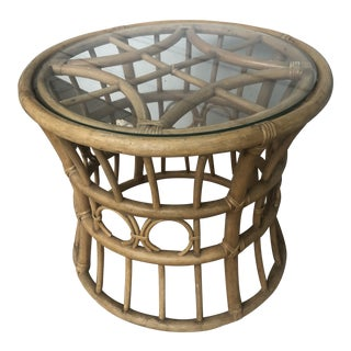 1970s Vintage Round Rattan Cocktail Table For Sale