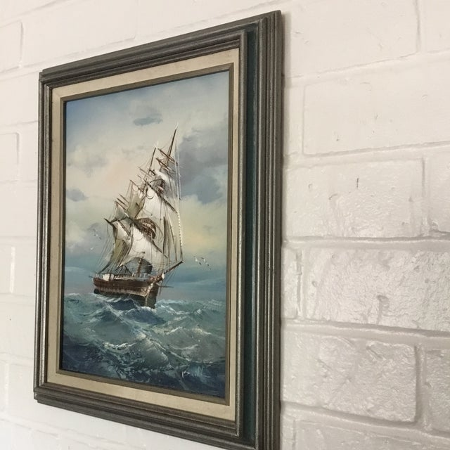 Mid 20th Century Vintage Detailed Clipper Ship Original Oil Painting For Sale - Image 4 of 7