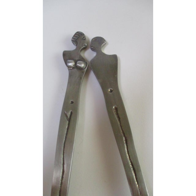 Late 20th Century Modernist Sculptural Abstract Nude Figural Serving Pieces Spoon and Fork For Sale - Image 5 of 10