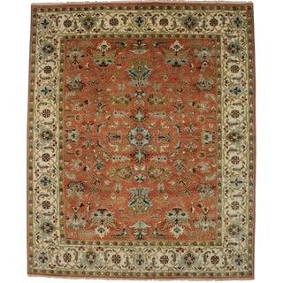 Orange Floral 8x10 Afshar Oriental Rug For Sale