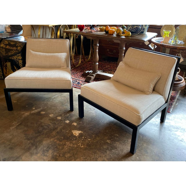 Mid Century Asian Modern Black Slipper Chairs - a Pair For Sale - Image 11 of 11