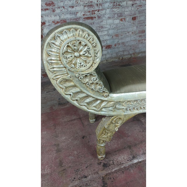 Silver Gilt & Upholstery Vintage Bed or Window Bench For Sale In Los Angeles - Image 6 of 10