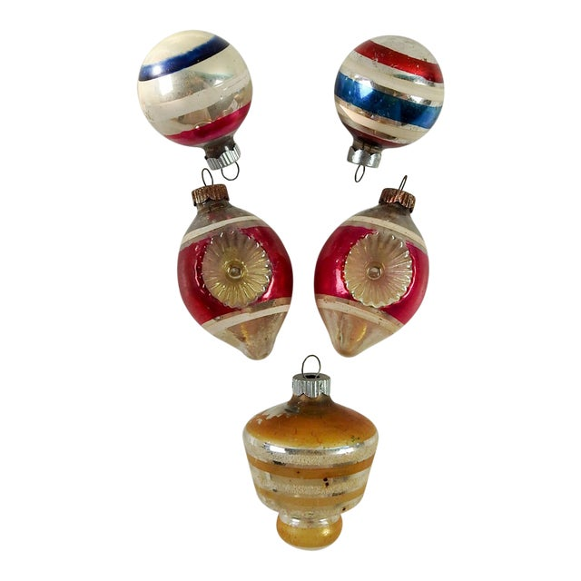 Group of Vintage Striped Christmas Ornaments - Set of 5 For Sale