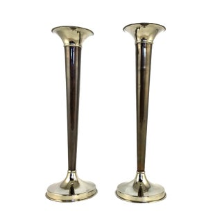 1960s Tall Silver & Bronze Art Deco Candle Holders - a Pair For Sale